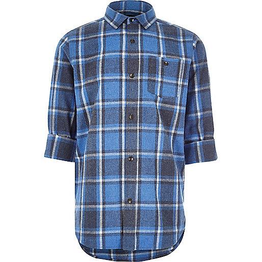 Boys blue brushed check shirt