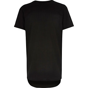 Boys black curved hem t-shirt