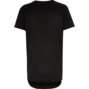 Boys black curved hem t-shirt