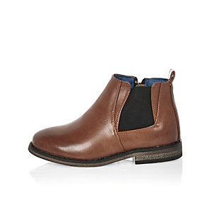 Bottines Chelsea marron mini garçon