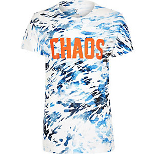 Boys blue chaos print t-shirt