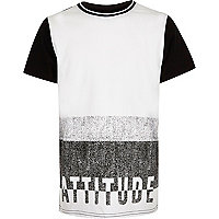 Boys white textured attitude t-shirt