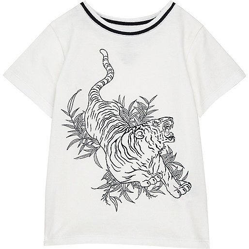Mini boys white tiger print t-shirt