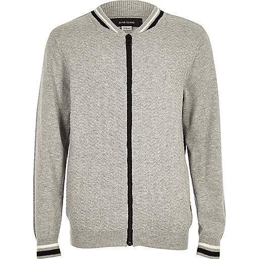Boys grey knit bomber jacket