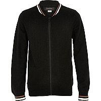 Boys black knit block bomber jacket