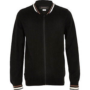Boys black knit block bomber jacket
