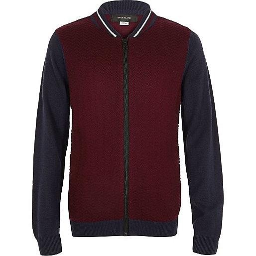 Boys red knit block bomber jacket