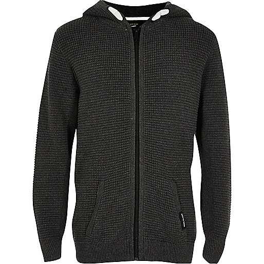 Boys grey waffle zip up hoodie