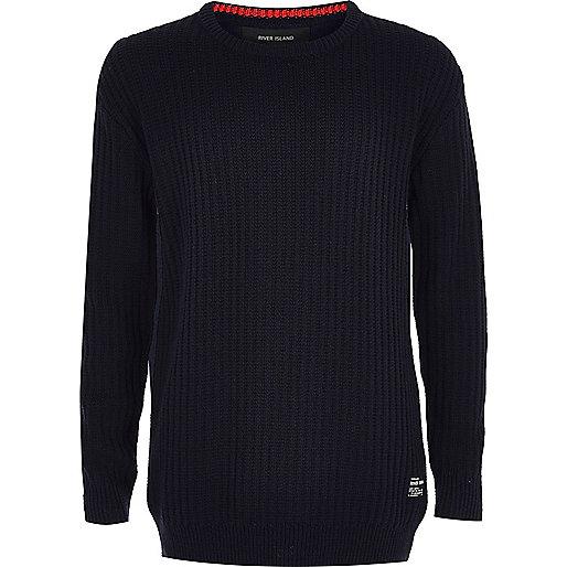 Boys navy ribbed jersey sweater