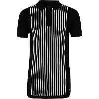 Boys black stripe knit zip polo shirt