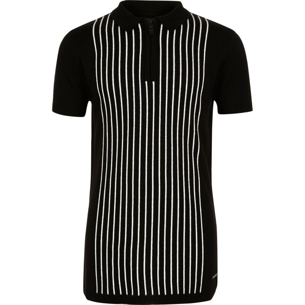 Boys black stripe knit zip polo shirt polo shirts sale for Boys striped polo shirts