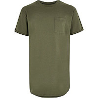 Boys khaki green curved hem t-shirt