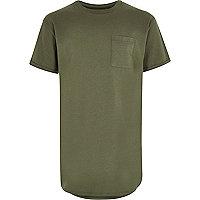 Boys khaki curved hem t-shirt