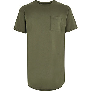 Boys khaki curved hem t-shirt