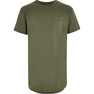 Kakigroen T-shirt met ronde zoom voor jongens