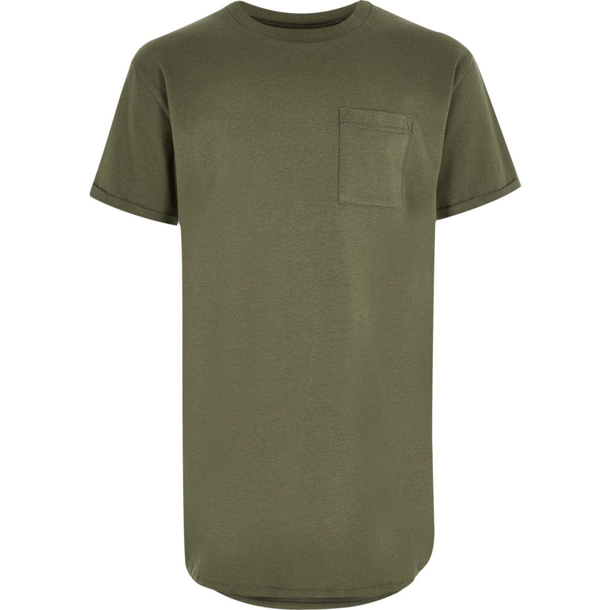 T-shirt vert kaki à ourlet arrondi pour garçon
