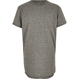 Boys grey curved hem t-shirt