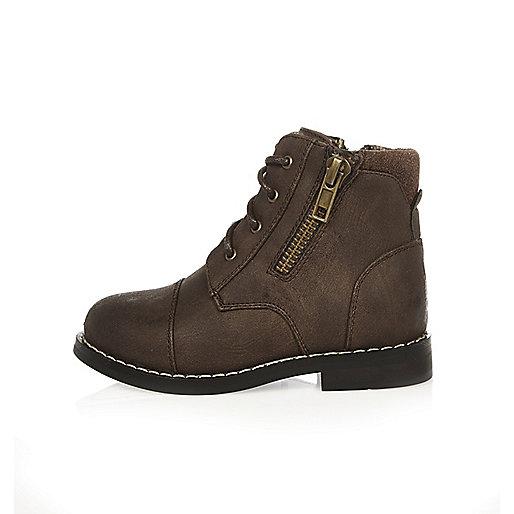 Mini boys brown work boots
