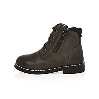 Mini boys grey work boots