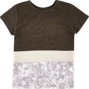 Mini boys white block panel t-shirt