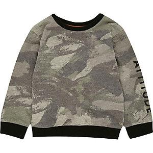 Mini boys khaki camo sweatshirt