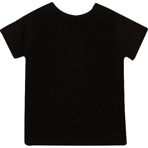 Mini boys black textured t-shirt