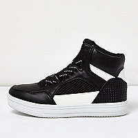 Boys black hi-top trainers