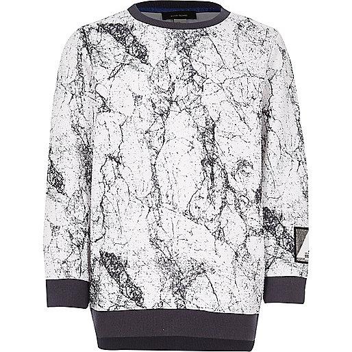 Boy white marble sweatshirt