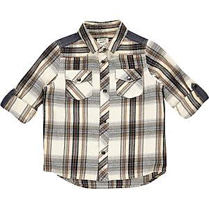 Chemise à carreaux crème mini garçon