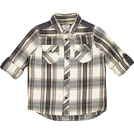 Mini boys cream check shirt