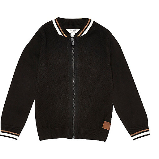 Mini boys black tipped block bomber jacket