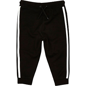 Mini boys black side stripe joggers