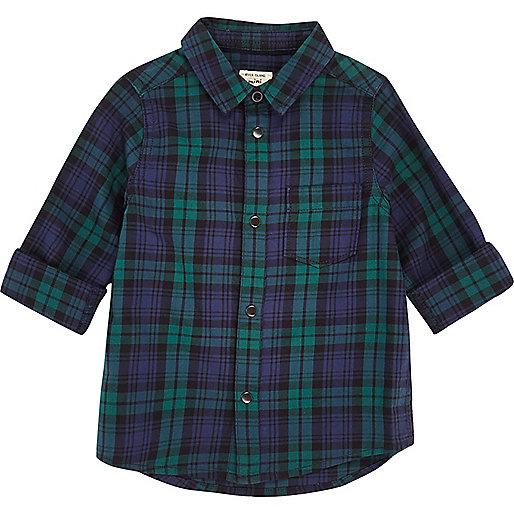 Mini boys green plaid shirt