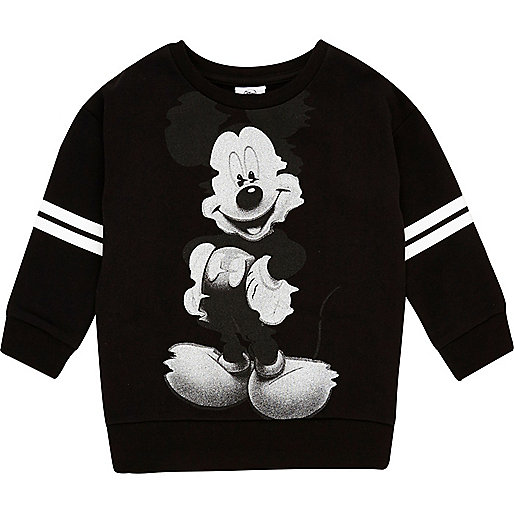 Schwarzer Pullover mit Mickey Mouse-Motiv