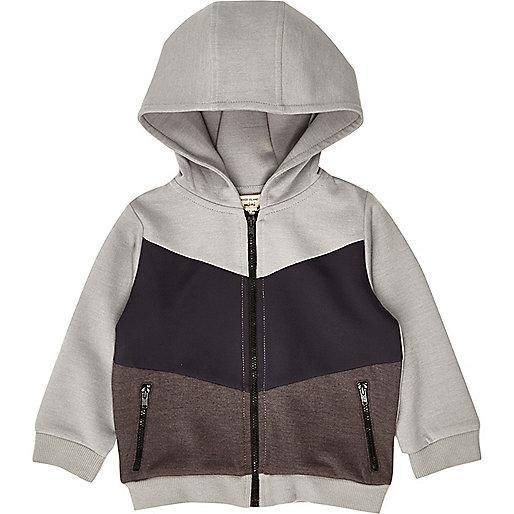 Mini boys grey block hoodie