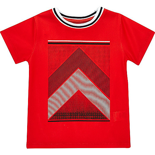 Mini boys red print t-shirt