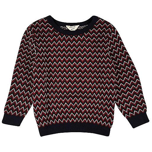 Mini boys red zig zag knit sweater