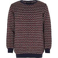 Boys red zig zag knit jumper