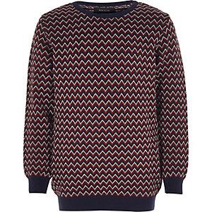 Boys red zig zag knit sweater