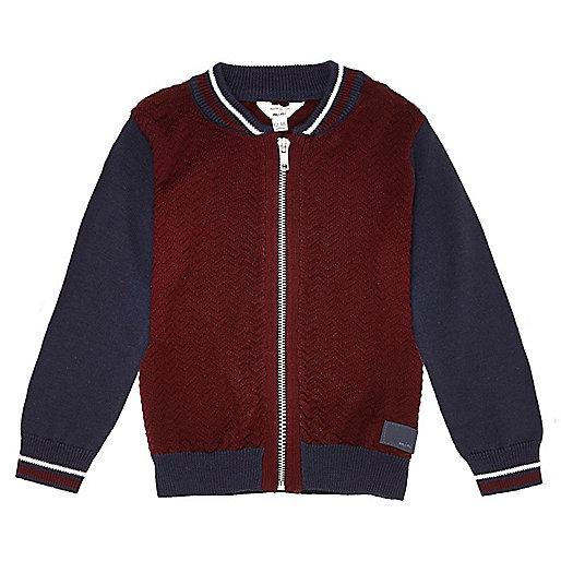 Mini boys red color block bomber jacket
