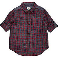 Mini boys red check panel shirt
