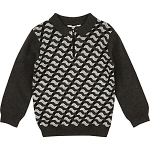 Mini boys grey geometric print polo top
