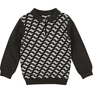 Mini boys grey geometric print polo top