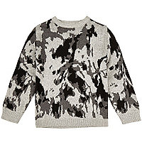 Mini boys grey knit camo sweater