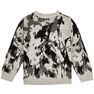Mini boys grey knit camo jumper
