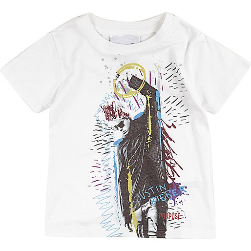 Mini boys white Justin Bieber print t-shirt