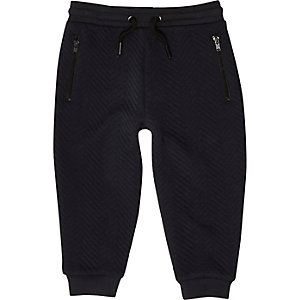 Mini boys navy textured joggers