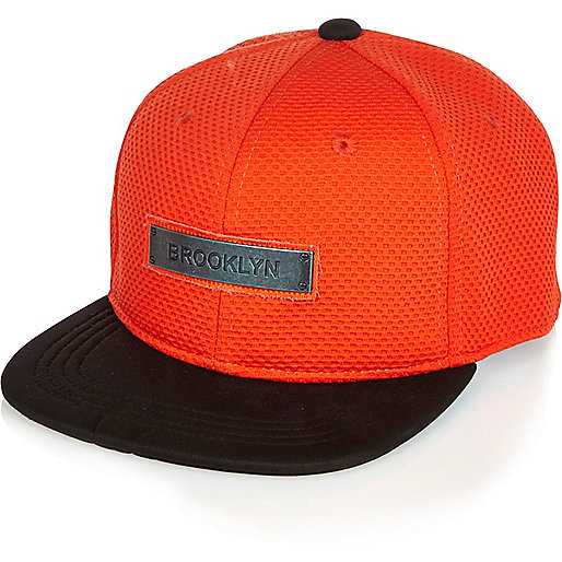 Orange Brooklyn-Kappe mit Mesh-Einsatz