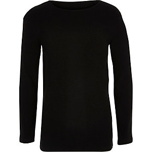 Boys black slim fit ribbed top