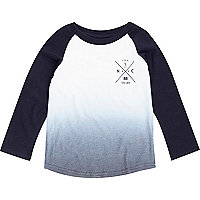 Mini boys navy faded raglan top